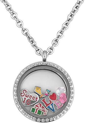Sweet 16 Birthday Heart Floating Charm For Our Glass Memory Locket Necklaces