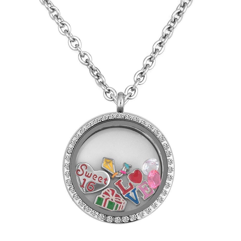 Q&Locket Sweet 16th Love Birthday Floating Charm In Living Memory Locket Pendant Necklace Women&Girl by Q&Locket (Image #1)