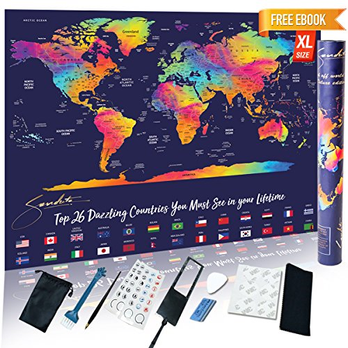Scratch off Map World Poster Includes Accessories Set of 9 Scratcher Memory Stickers tools USA States and 26 Country Flags - New Design Premium Wall Art Large size 23 x 32 inch - BONUS Travel eBook (Wall 100 New Haven)
