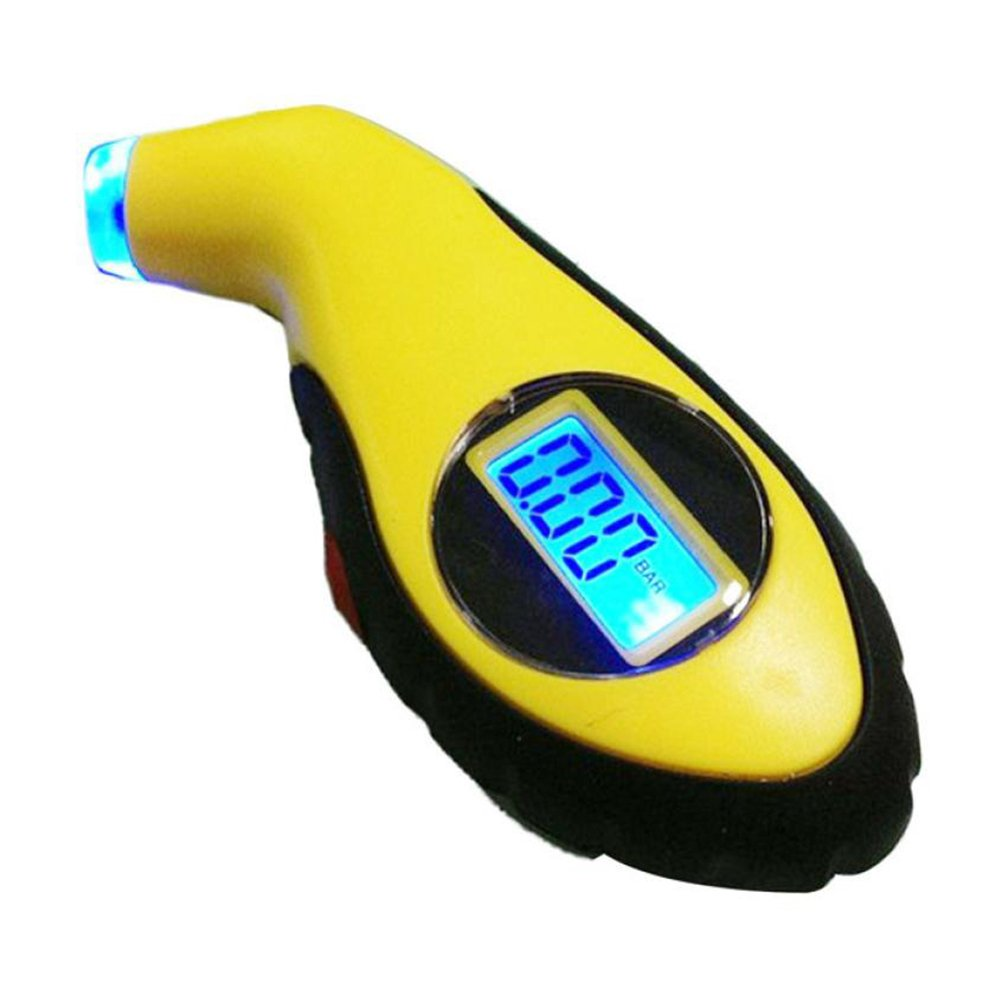 NUOLUX LCD Digital Auto Car Motorcycle Air Pressure Tire Tyre Gauge Tester (Yellow) 4333085129