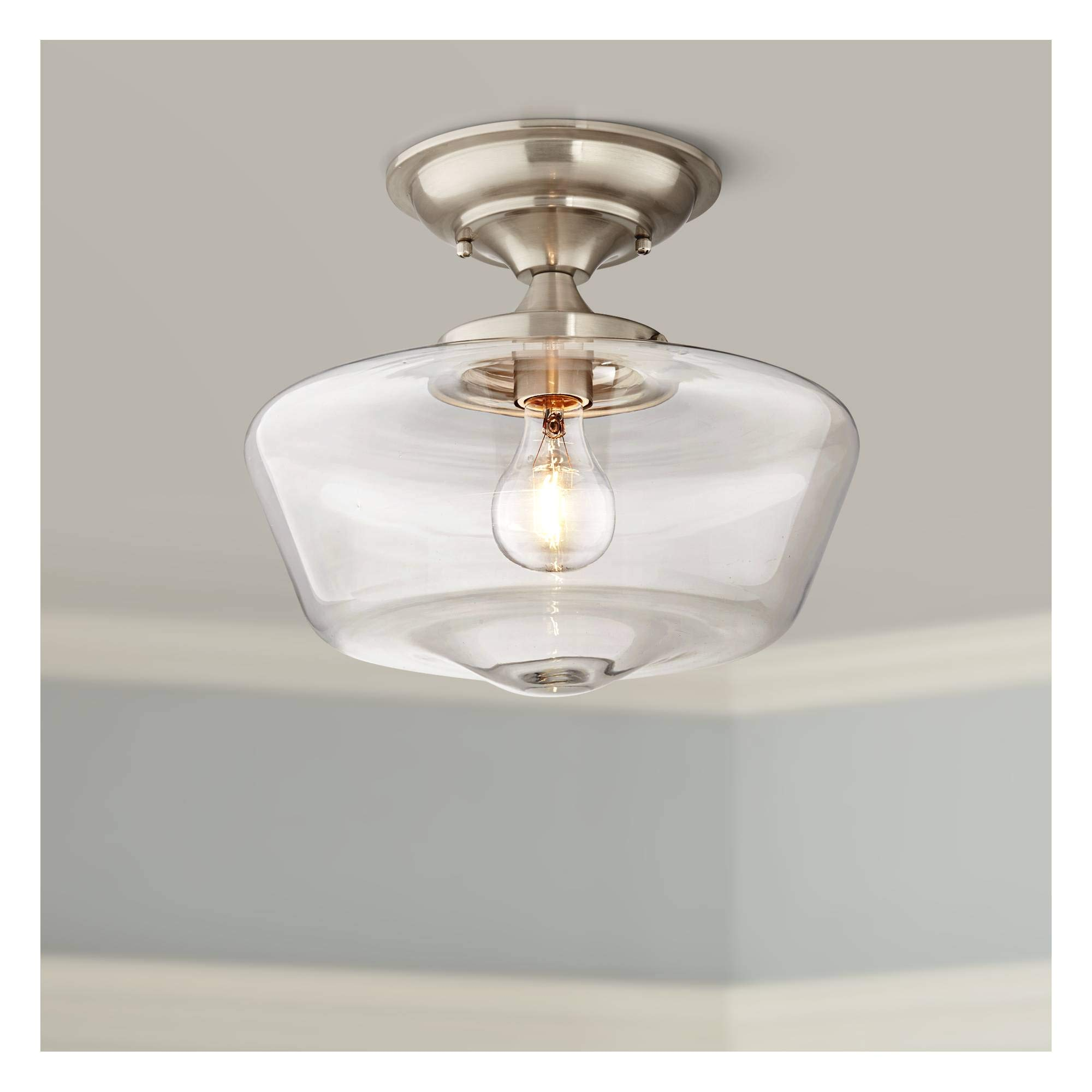 Schoolhouse Floating Ceiling Light Semi Flush Mount Fixture Brushed Nickel 12'' Wide Clear Glass for Bedroom Kitchen Living Room Hallway Bathroom - Regency Hill