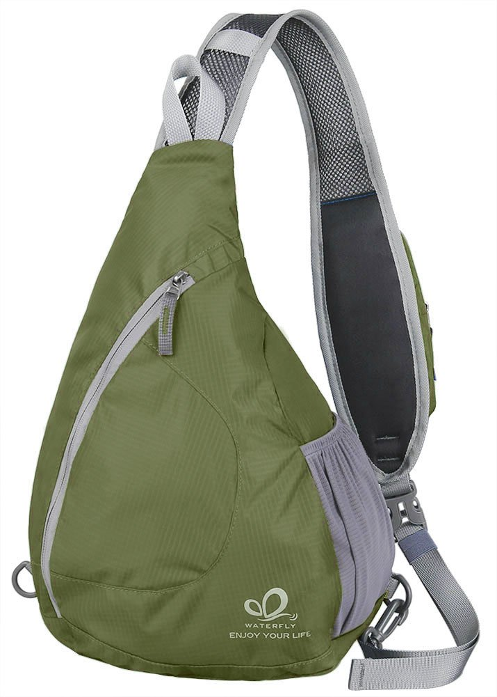 WATERFLY Sling Chest Backpacks Bags Crossbody Shoulder Triangle Packs Daypacks for Cycling Walking Dog Hiking Boys Girls Men Women, Olive