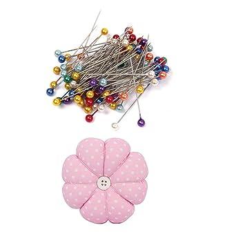 80 piezas de alfileres de cabeza de cristal bordados multicolor de costura con agujas de calabaza rosa para coser accesorios para boda floristerías Tailor ...