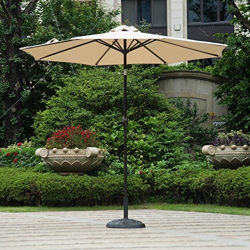 Deluxe Patio Umbrella Stand - Dienspeak Deluxe Market Outdoor Aluminum Table Patio Umbrella Sunshade 1000 Hours Fade-Resistant with Push Button Tilt & Crank, Beige