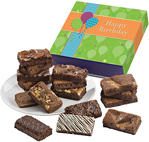 Fairytale Brownies Birthday Sprite 16 Gourmet Food Gift Basket Chocolate Box - 3 Inch x 1.5 Inch Snack-Size Brownies - 16 Pieces