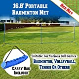 BenefitUSA 3-IN-1 Portable Training Beach Volleyball Tennis Badminton Net Set With Carrying Bag 16.7' L