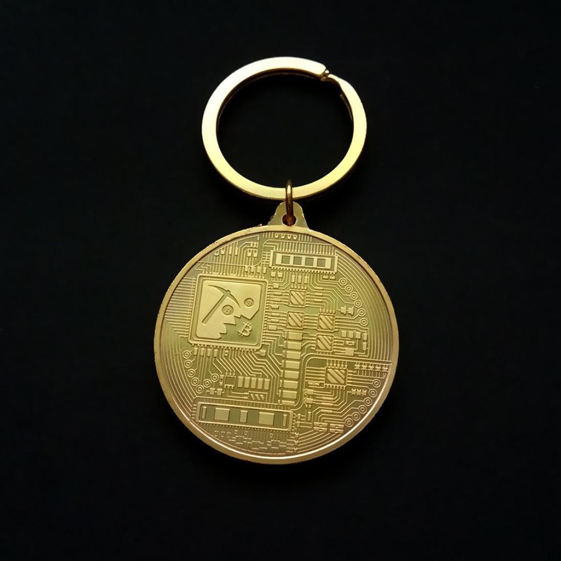 Llavero de monedas de Bitcoin, llavero vintage de AmaMary con monedas de metal de Bitcoin colgante para llaves Gran colección de arte de regalo de ...