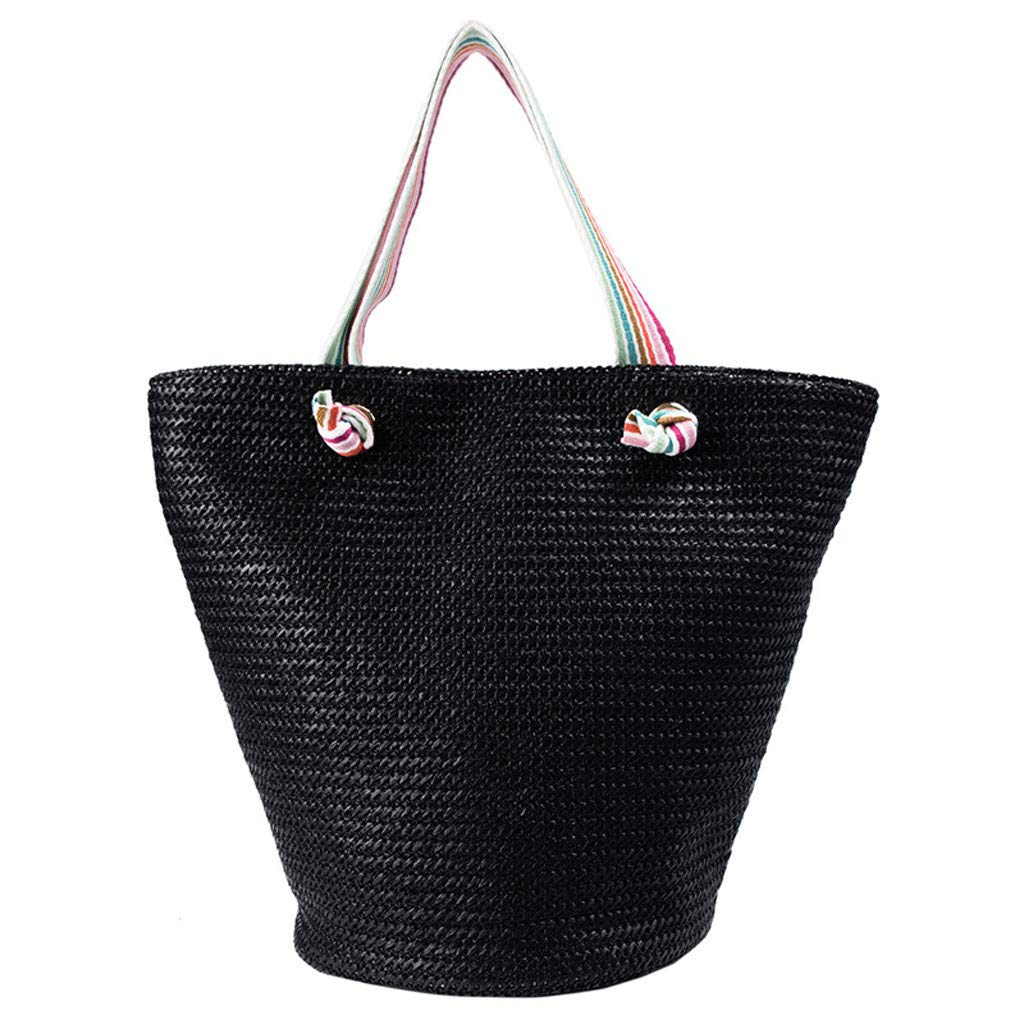 Women Bag Ikevan 2019 Fashion Women Rainbow Chain Bag Weave Shopping Bag Crossbody Bag Handle Bag Lunch bags (Black)