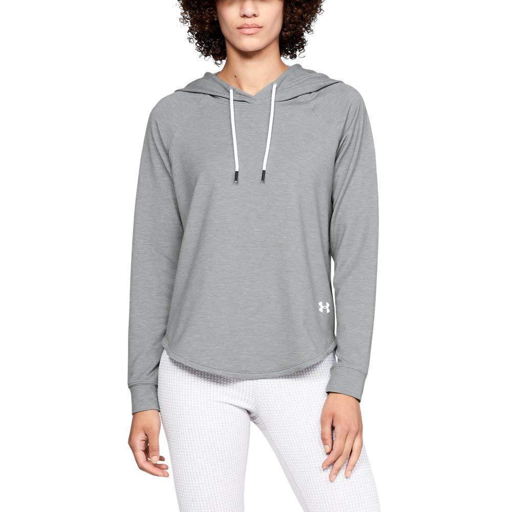 Under Armour Women's Featherweight Fleece Oversize Hoodie, Steel Medium Heather /White, X-Small