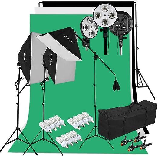 Kit Estudio Fotografico: 3 Ventana de Luz, 3 Fondos (Croma Verde, Blanco, Negro), 1 Soporte de Fondo, 12 Bombilla 45W, 2 Trípode de Luz, 1 Soporte Jirafa, 2 Bolsa Portátil: Amazon.es: Electrónica