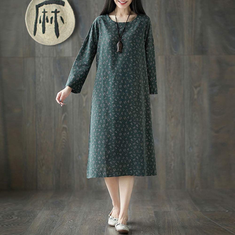 Women Dresses Godathe Women Plue Size Long Sleeve Patchwork Cotton Linen Loose Print Bohe Dress M-2XL at Amazon Womens Clothing store: