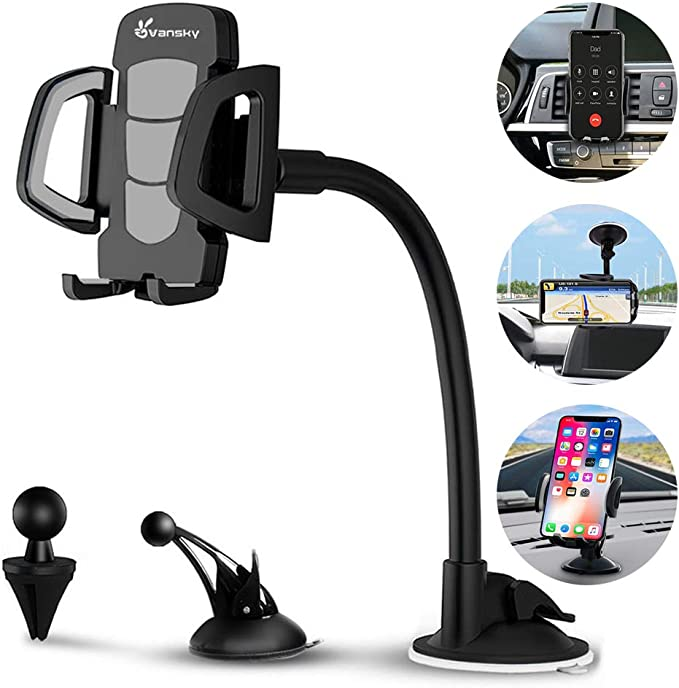 Windshield Car Phone Mount Universal Cell Phone Holder Car Long Arm Holder for iPhone Xs Max R X 8 Plus 7 Plus 6S Samsung Galaxy S9 S8 Edge S7 S6 LG Sony and More 20inch
