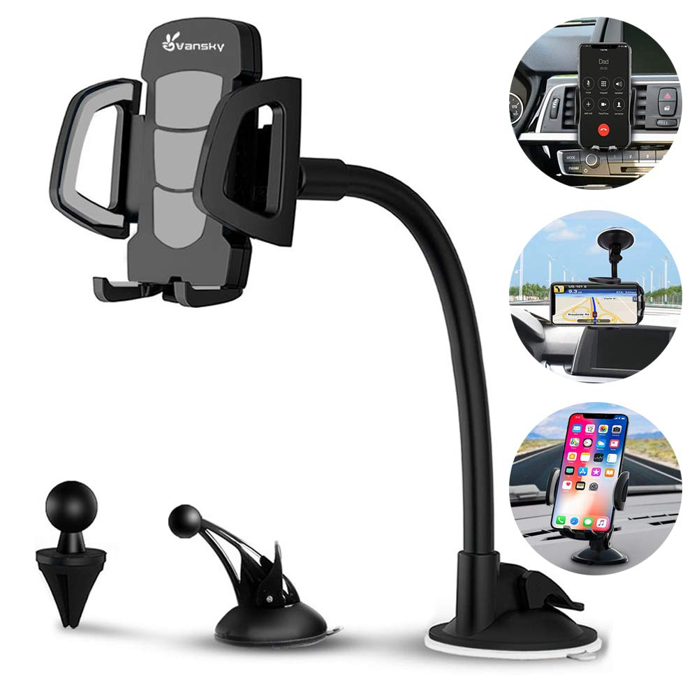 Car Phone Mount, Vansky 3-in-1 Universal Cell Phone Holder Car Air Vent Holder Dashboard Mount Windshield Mount for iPhone Xs Max R X 8 Plus 7 Plus 6S Samsung Galaxy S9 S8 Edge S7 S6 LG Sony and More by Vansky