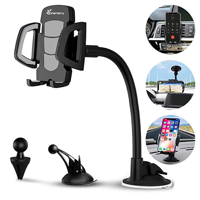 Car Phone Mount, Vansky 3-in-1 Universal Cell Phone Holder Car Air Vent Holder Dashboard Mount Windshield Mount for iPhone Xs Max RX 8 Plus 7 Plus 6S ...