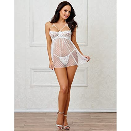 e19291faa57 Amazon.com  Dreamgirl Romantic White Heart Mesh Bridal Babydoll Lingerie  with Pearl Trim  Clothing