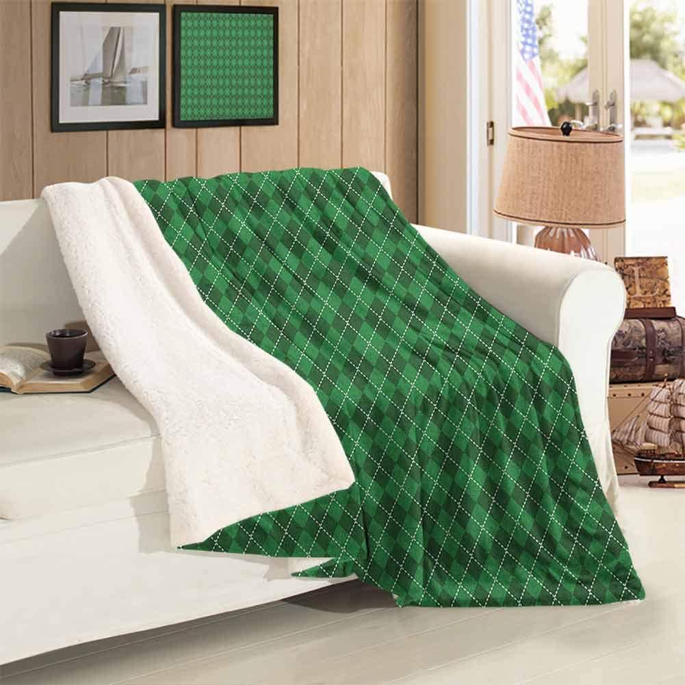 Xlcsomf Irish Warm Blanket St. Patricks Day Celebration Inspired Vintage Pattern Argyle Tartan Dots Easy to Care Green Dark Green White 60 x 47 inch
