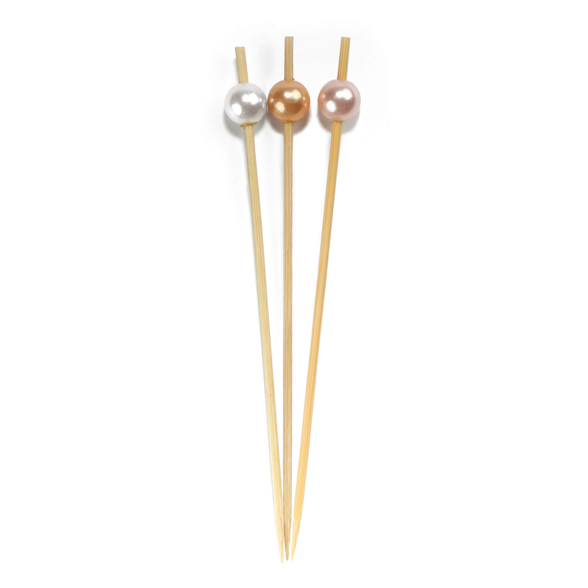 BambooMN 5.9'' Decorative Pearl End Cocktail Fruit Sandwich Picks Skewers for Catered Events, Holiday's, Restaurants or Buffets Party Supplies - 100pcs, Assort 96 (Champagne, Pink, White)