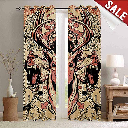 (Deer, Waterproof Window Curtain, Modern Artsy Illustration of Skull and Wolves with Floral Design Majestic Antler, Room Darkening Wide Curtains, W108 x L96 Inch Black Beige Pink)