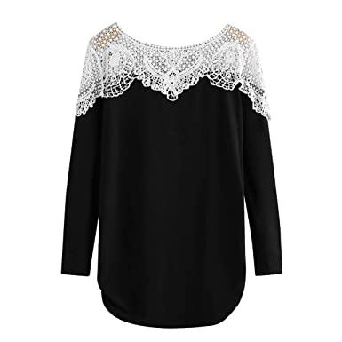 e0b8be7a69667 Lace Patchwork T-Shirts Long Sleeve Hollow Out Women Tunic Tops (Color :  Black