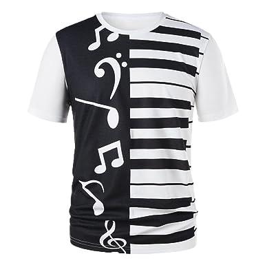 Camiseta para Hombre,RETUROM Hombres Mujeres Pareja Llaves Piano Notas Musicales Imprimir Camiseta Imprimir Camisetas Tops Blusa: Amazon.es: Ropa y ...