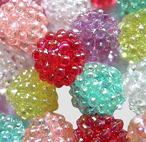(Luxury & Custom {15mm} of Approx 50 Individual Loose Medium Size Round Berry Beads Made of Genuine Acrylic w/Classic Gloss Wild Fruit Design on Strand {Assorted Colors})