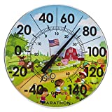 Marathon Housewares BA030002US 12'' Indoor/Outdoor Dial Thermometer- Barn Scene