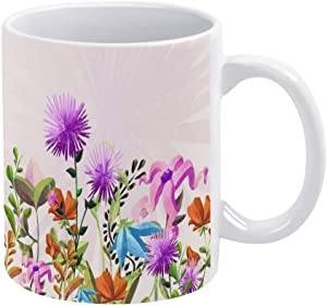Ceramic Coffee Mug, Wildflower Ceramic Mug Coffee Cup, Decorative Tea Cup for Office Home 11oz