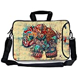 "Kitron(TM) 16 17""-17.3-Inch Cute Colorful Retro Elephant Design Water Resistant Neoprene Sleeve Notebook Neoprene Messenger Case Tote Bag with Handle and Carrying Strap"