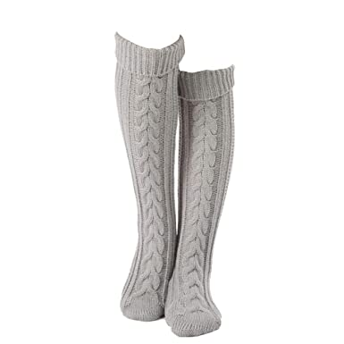 5edfb823796 Turspit Pantalon d hiver en maille torsadée sur genou - chaussettes hautes  et jambières (