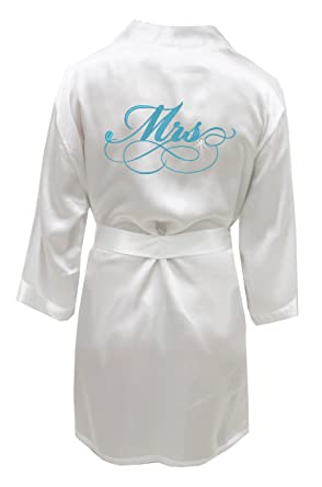 Mrs. Satin Bridal Robe with Rhinestone Crystal at Amazon Women s ... a5460c596