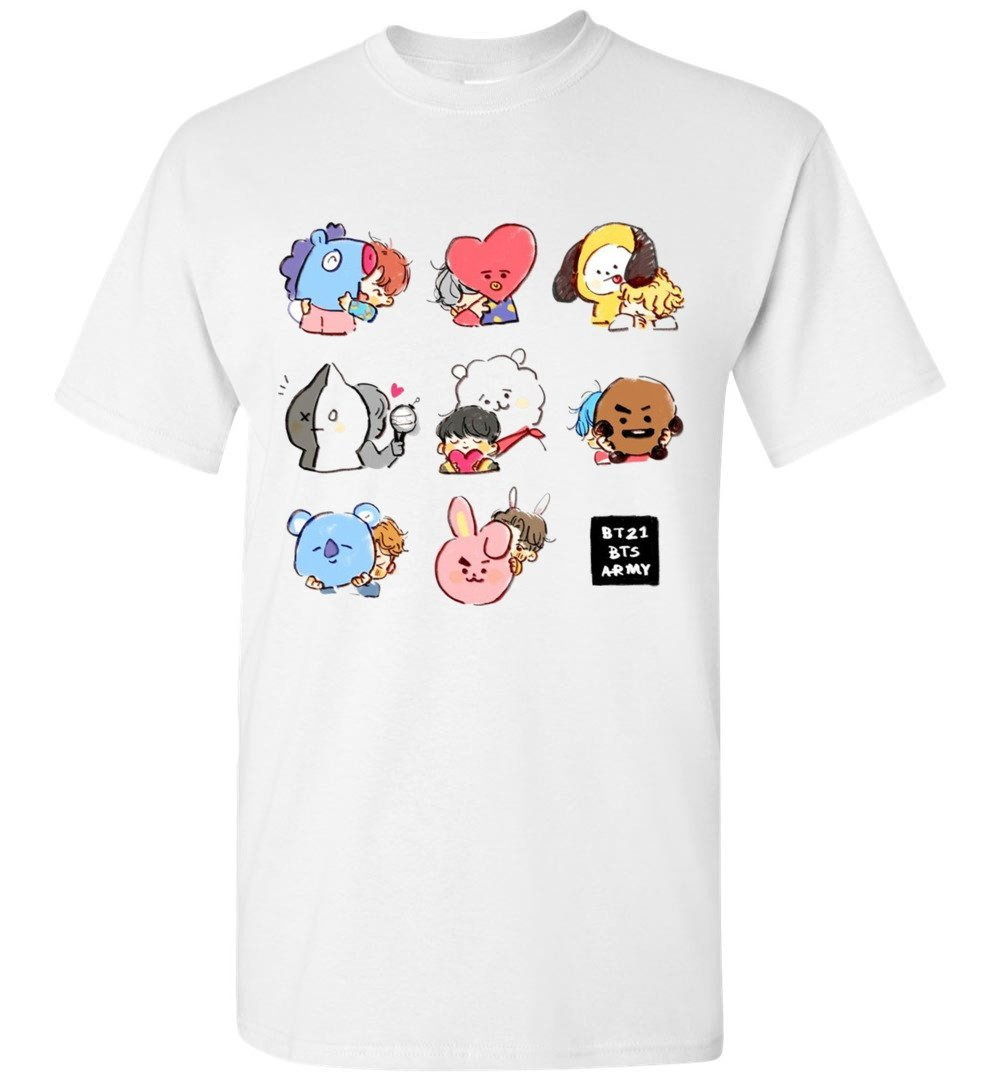 BT21 vs BTS Art Chibi T-Shirt Tata Chimmy Cooky Koya Mang Shooky RJ