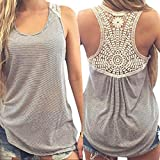 Software : Napoo Women Summer Striped Lace Back Hollow Vest Tank Tops T-Shirt (L, Gray)