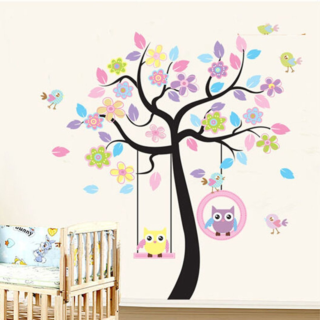 Colorful Tree Flowers Lovely Owls Birds Wall Decal Home Sticker Paper Removable Living Dinning Room Bedroom Kitchen Art Picture Murals DIY Stick Girls Boys kids Nursery Baby Playroom Decoration + Gift Colorful Butterflies fashionbeautybuy