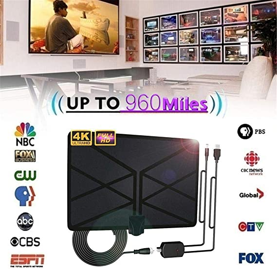 BangHaa Antena de TV for TV Digital de Interior, Cubierta Antena ...