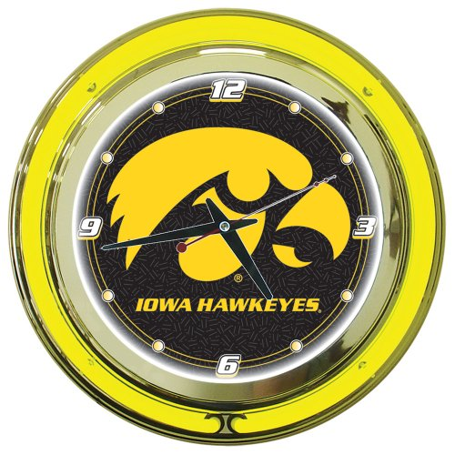 NCAA University of Iowa Chrome Double Ring Neon Clock, - Clock State Neon University