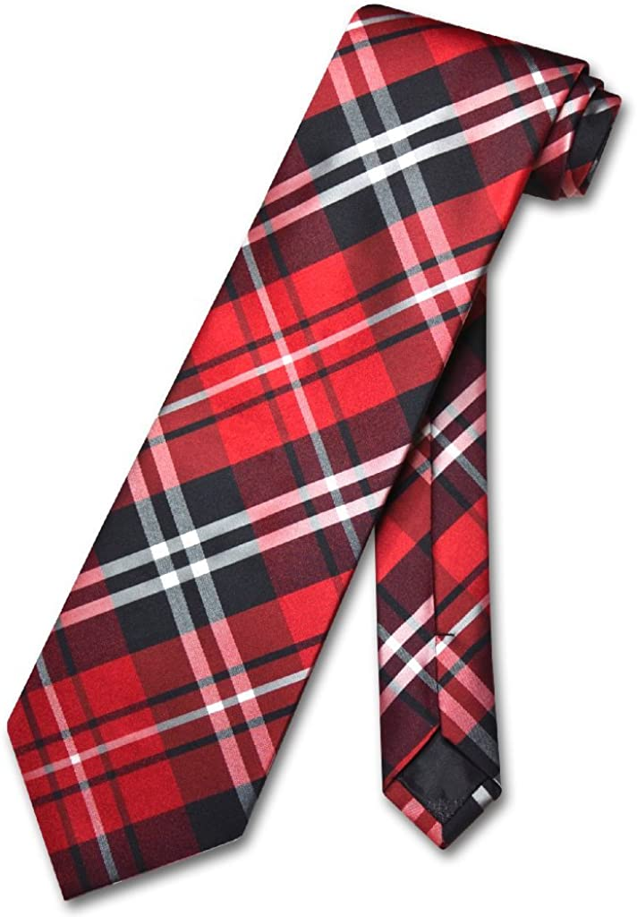 Boys Red Christmas Plaid 11 inch Clip-On Neck Tie