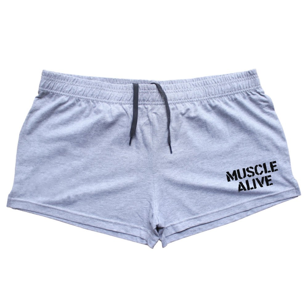 MUSCLE ALIVE Mens Bodybuilding Shorts 3'' Inseam Cotton Gray 2XL