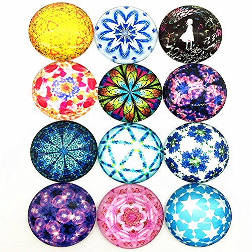 IGOGO 12 PCS Glass Dome Cabochons Half Round Flatback Beautiful Flower