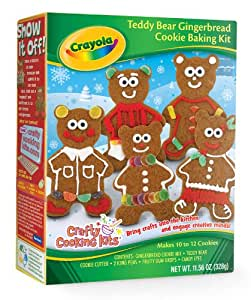 Crayola Holiday Teddy Bear Gingerbread Cookie Baking Kit (Crafty Cooking Kits)