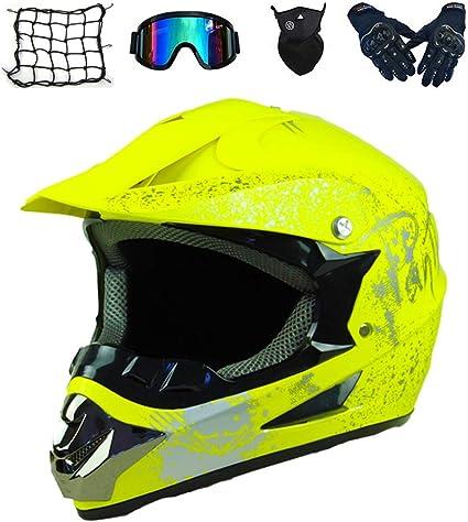 Mrdear Motocrosshelm Kinder Gelb Motorradhelm Cross Gogge Handschuhe Maske Gummiband 5 Stück Helm Mtb Integral Helm Bmx Quad Enduro Atv Scooter L Gelb S Sport Freizeit