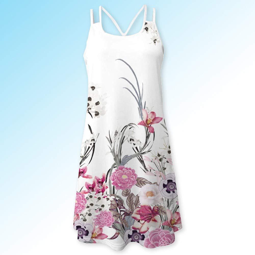 IMJONO Anniversary Celebration 2019 Frauen Sommer Vintage /ärmellose 3D-Blumendruck Bohe Tank Short Minikleid