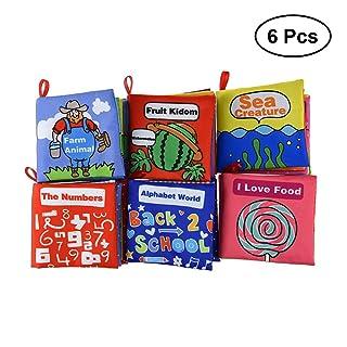 Toyvian Libro di stoffa per bambini - Libro di attività in tessuto morbido, primo regalo educativo per bambini in età prescolare, apprendimento delle lingue semplice, confezione da 6