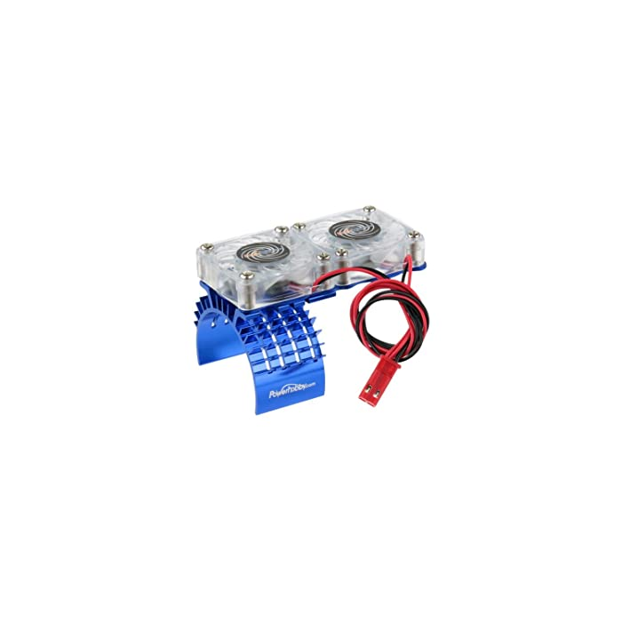 Powerhobby Aluminum Motor Heatsink Twin Dual Cooling Fan Traxxas Slash 4x4 Blue