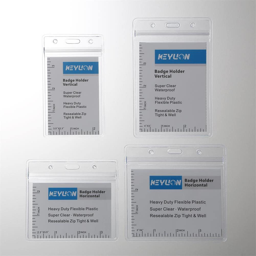 """KEYLION 100 Pack Horizontal Name Tag Name Badge ID Card Holders, Heavy Duty Clear Plastic ID Sleeve Pouch with Waterproof Type Resealable Zip, fit 2-1/4"""" x 3-1/2"""" Name Badge Insert Refill : Office Products"""