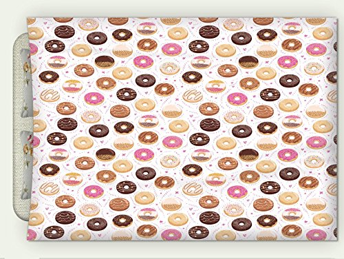 Minicoso Flannel Throw Blanket Donuts And Little Hearts Pattern Colorful Yummy Delicious Dessert Cafeteria Restaurant Art Pink Brown Autumn Winter Warm Double Sides Print Blanketry, 79'' W x 59'' H by Minicoso