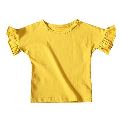 Winsummer Little Girl Kids Soft Ruffle Sleeve Raglan Cotton Short Sleeve Summer Shirt Top Tee T-Shirt