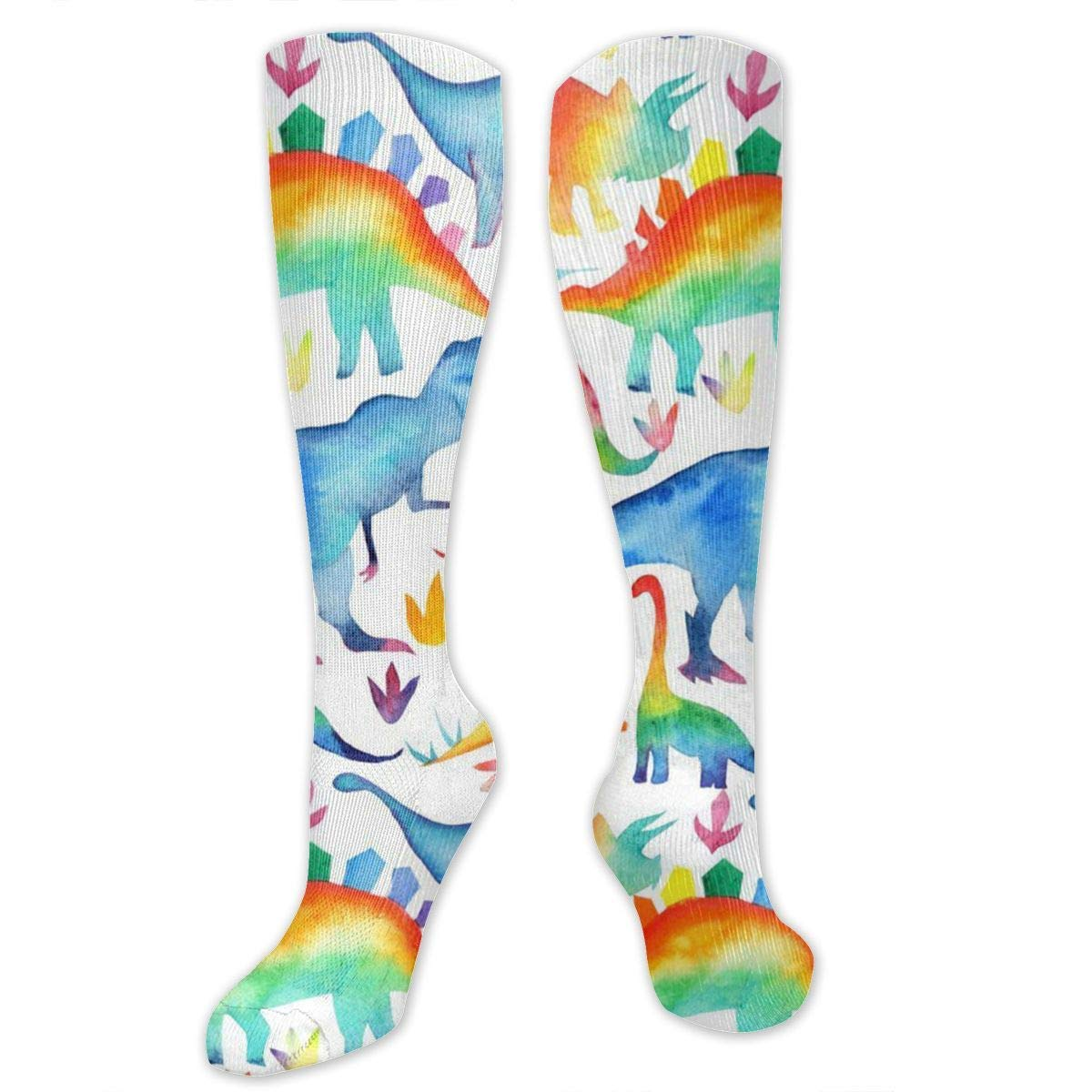 Rainbow Watercolour Dinosaurs Mens//Womens Sensitive Feet Wide Fit Crew Socks and Cotton Crew Athletic Sock