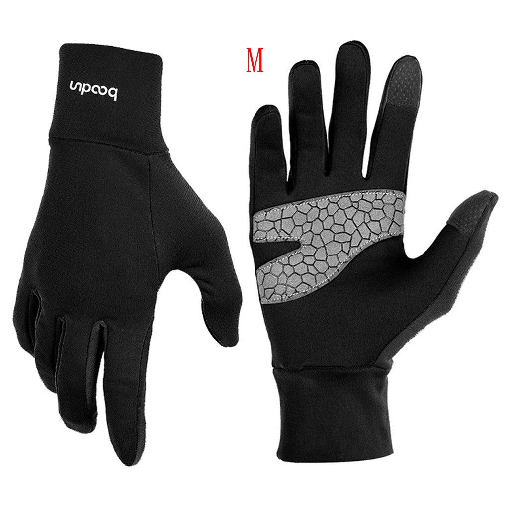 Unisex Winter Gloves, Warm Thermal Gloves Running Gloves Cold Weather Gloves Driving Riding Cycling Gloves Outdoor Sports Gloves for Men and Women (Black, M)