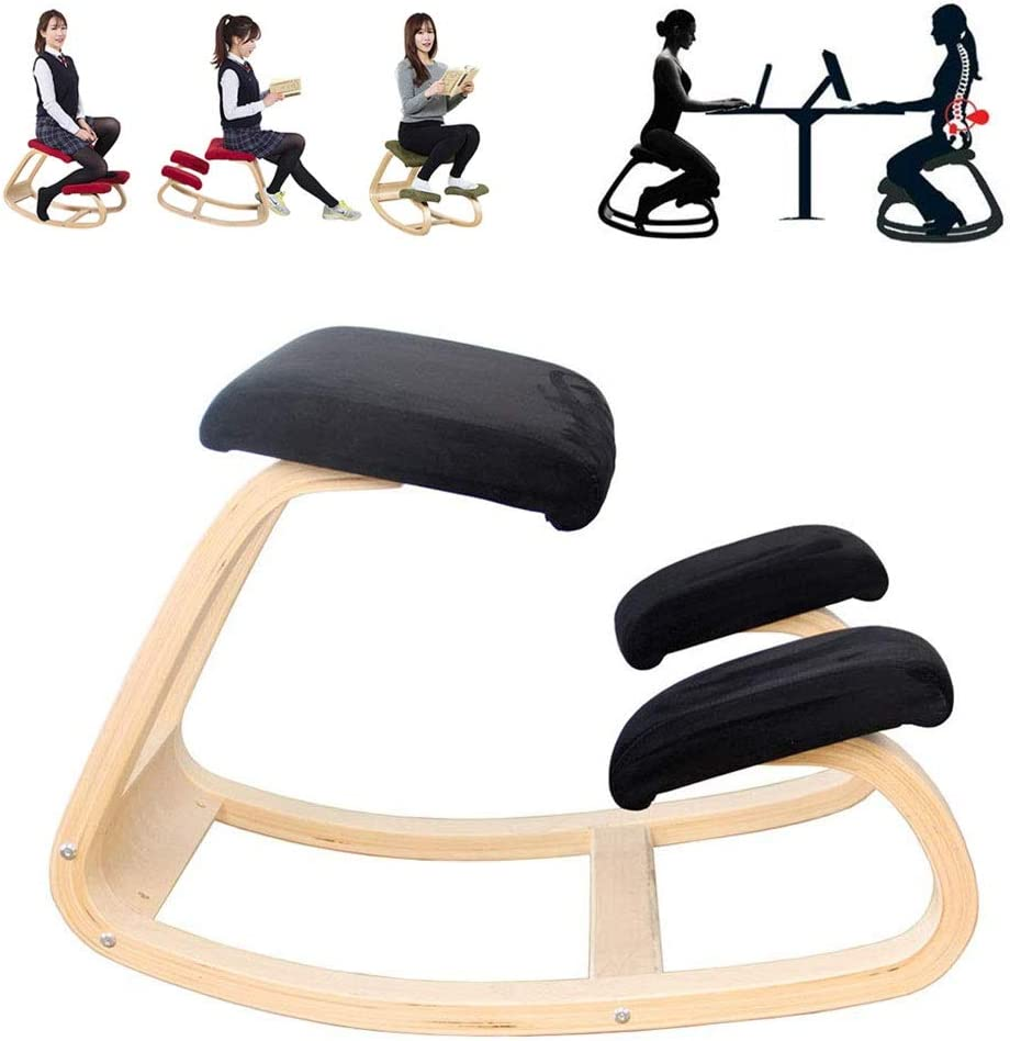 Original Kneeling Chair, Wooden Ergonomic Rocking Stool Ideal for Working at Home (Color : Black)