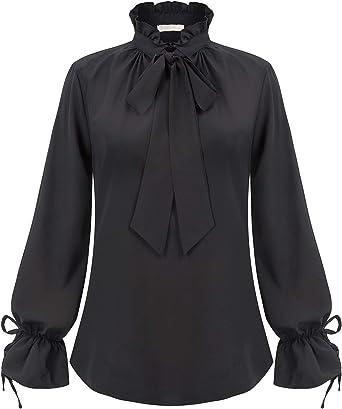 Belle Poque Mujer Camisa Vintage Ruffle Mangas largas con moño BPE02005: Amazon.es: Ropa y accesorios